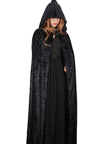 DELEY Femme Halloween Costume de Velours à Capuchon Manteau Cape Mascarade Cosplay Accessoire Noir