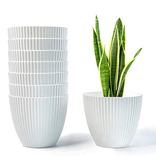 HOMENOTE 6 Inch Plant Pot, White Plastic Planter Indoor Plant Pots Set of 8 Modern Decorative Small Pots for Plants, Flowers, Herbs, Cactus with Drainage Hole and Plug