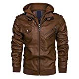 CRYSULLY Men's Spring Vintage Pu Faux Leather Jacket Casual Stylish Moto Bomber Coat Brown