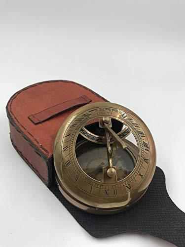 Sonnenuhr-Kompass aus Messing, 7,6 cm, Antik-Look, mit schöner Lederhülle, zum Öffnen drücken, Braun / Rot