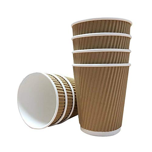 500 x Kraft 12oz Ripple 3 Ply Disposable Paper Cups for Tea Coffee Hot Drinks Brown