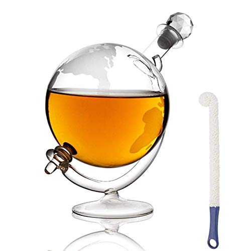 CYHT Decantador de Whisky de Vidrio con Cuna y tapón, diseño de Whisky del Mundo del Mundo del Vintage Ron, Brandy & Licor