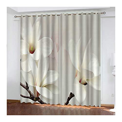 KnSam - Juego de 2 cortinas de poliéster 98% de luz, con ojales, 274 x 138 cm, color blanco