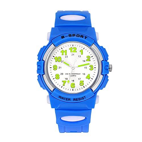 Reloj analógico para niños, 3ATM Resistente al Agua, fácil de Leer, Reloj...