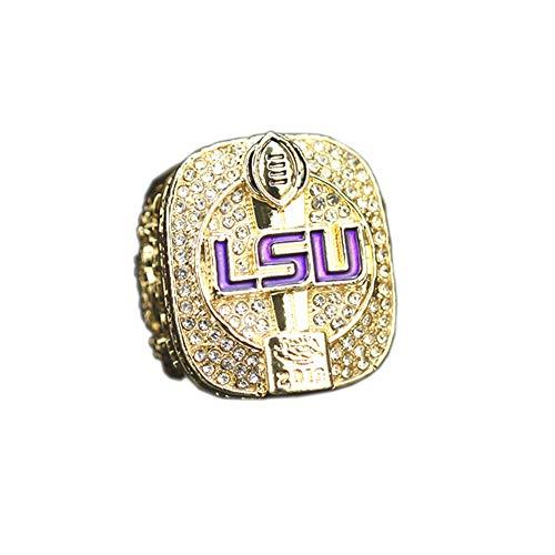 Fei Fei 2019 Louisiana University League NCAA LSU Championship Ring Anillos de Hombre, Championship Anillo de réplica Personalizado Anillos de Diamantes para Hombres,Without Box,15#