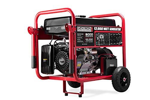 Gentron Power Equipment GG12000GU 12,000-Watt 15HP Gasoline Powered Electric Start Portable Generator, EPA Approved Black Red