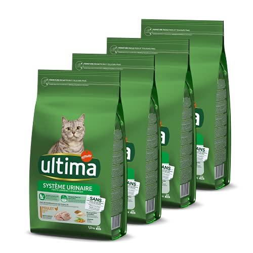 Ultima Croquettes Protection Système Urinaire au Poulet pour Chat: Pack 4 x 1,5kg - Total 6 kg