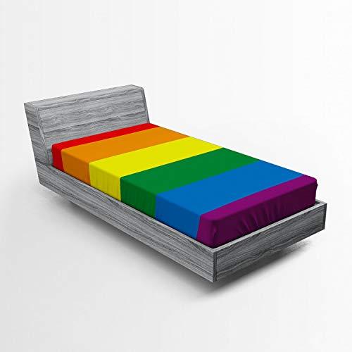 ABAKUHAUS Regenbogen Spannbetttuch, Homosexuell Parade Flagge Freiheit, Soft Dekorativer Stoff Bettwäsche R&-um Elastischer Gummizug, 90 x 200 cm, Mehrfarbig