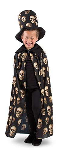 Folat 23802 Zylinder Hut und Umhang mit Totenköpfen Halloween Einheitsgröße Kinder, Schwarz