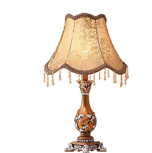SLEVE Style européen Pastorale Lampe de Table Chambre Simple Lampe de Chevet Chaud Creative résine avec Tissu Abat Lampe de Bureau de, Push Switch Bouton