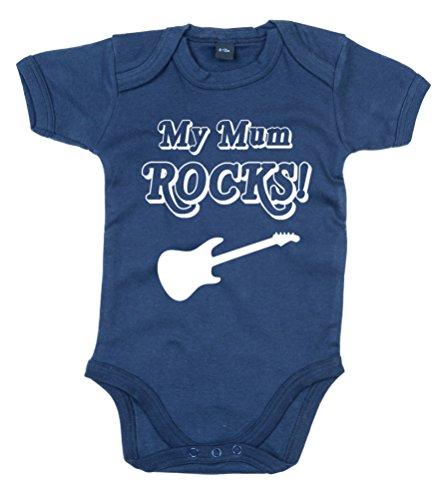 My Mum Rocks. 'Marine (nacré Noir Imprimé) Body bébé - Bleu -
