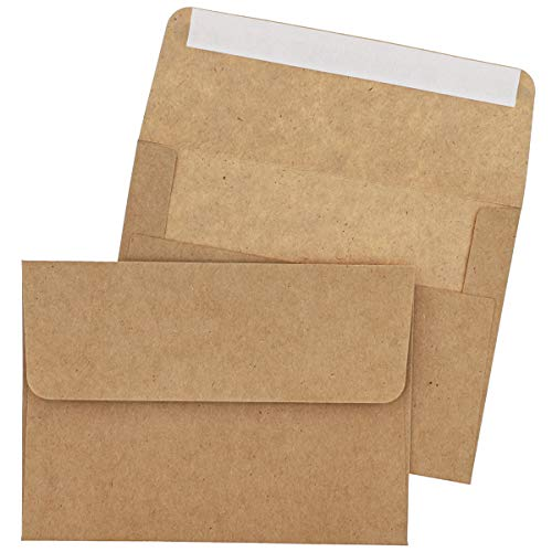 A7 Envelopes for Invitations - 100-Pack A7 Invitation Envelopes Bulk, Kraft Paper Envelopes for 5 x 7 Inch Photos, Wedding, Baby Shower, Party invitations, Square Flap, Brown, 5.25 x 7.25 Inches