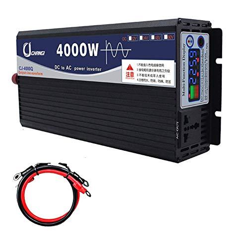 XBNBQ Inversor de Onda sinusoidal Pura de 3000 W Inversores de CC DC 12 V / 24 V a CA 220 V Inversor de Alta eficiencia para teléfonos Inteligentes Tableta Computadora portátil12V-4000W