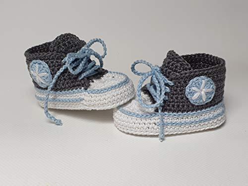 Babyschuhe gehäkelt-Sneakers-anthrazit/blau-Turnschuhe-Sportschuhe-Krabbelschuhe