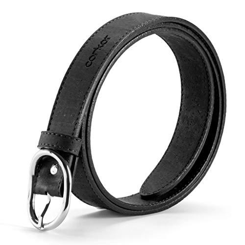 Corkor Cinturón de corcho para mujer, 25 mm de ancho, producto vegano, accesorio casual