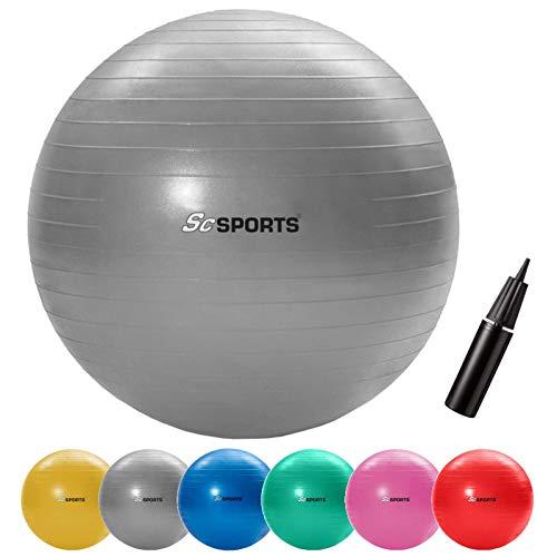 ScSPORTS Gymnastikball, Sitzball zur Entlastung der Wirbelsäule, als Yogaball geeignet, Ø 65 cm, Grau