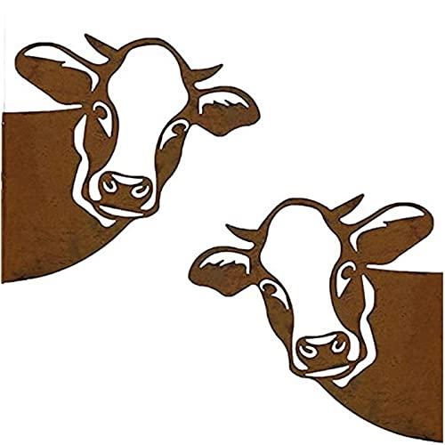 ZQSLZWZW asomando el Arte del Metal de la Vaca,Farm Peeping Cow Metal Art, for Farmhouse Outdoor Garden Decor Easy to Hang 2pcs
