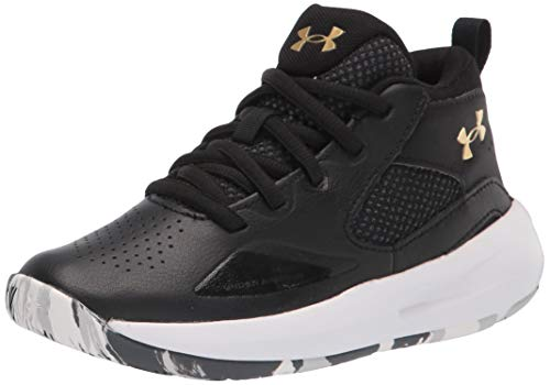 Under Armour Pre-School Lockdown 5, Zapatillas de básquetbol Unisex Adulto, Black/White/Metallic Gold (003), 33 1/3 EU