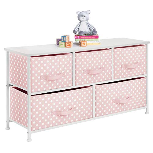 mDesign Kommode aus Stoff mit 5 Schubladen - praktisches Aufbewahrungsregal für Kinderzimmer, Schlafzimmer etc. - hübsche Schubladenkommode - rosa/weiß