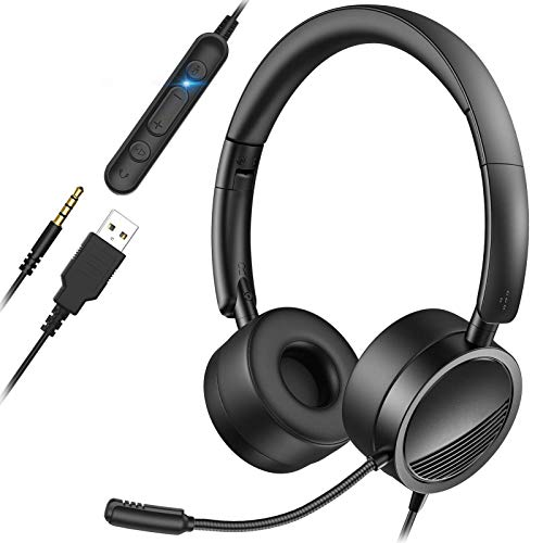 YIKANWEN PC Headset mit Mikrofon USB/3,5mm Klinke Headset Noise Cancelling & Klare Stereo-Sound für Call Center Office Telefonkonferenzen Business Skype-Chat e-Learning und Musik