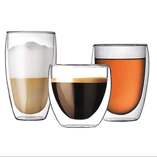 IXL 80/250/350/450 ML Vaso Doble Resistente al Calor Cerveza Espresso Copa de Vino de Doble Fondo Taza de café Taza de té Transparente Vaso de Cerveza Bebida, Australia, 350ML