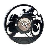 Disc'O'ClockOrologio in Vinile da Parete Lp 33 Giri Silenzioso Cafe Racer - Idea Regalo A Tema Moto, Bobber, Harley