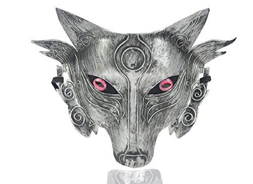 Star Cosplay Wolf Kostüm Maske Full Face Maskerade Maske für Männer Frauen Halloween Party Spiel Dekoration (Silver 2)