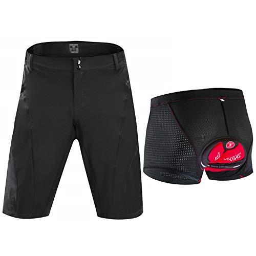 Pantalones Cortos De Ciclismo Impermeable Hombres,3D Gel De Sílice Acolchado Transpirable Pantalon Bici con Bolsillos,para Ciclismo Correr MTB O Deportes Al Aire Libre(Size:Metro,Color:Black1)