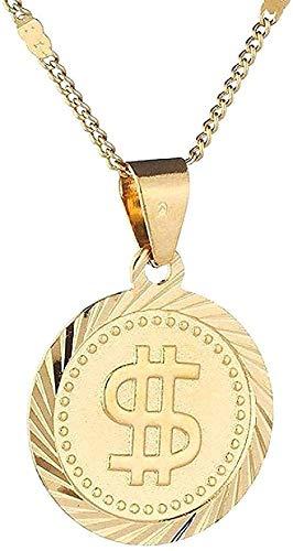 ZGYFJCH Co.,ltd Collar Mujer Collar Collar Color Dorado Rock Hip Hop Dólar Estadounidense Símbolo de Dinero Signo Colgante Redondo Collar Cadena de Moda Joyería para Mujeres Hombres Regalos
