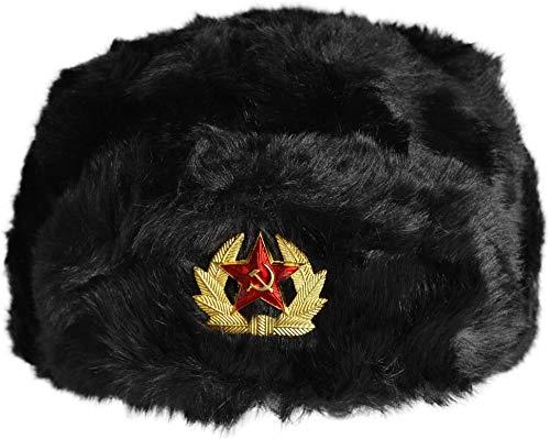 normani Russenmütze Tschapka mit Kokarde Stern Farbe Schwarz mit Kokarde Größe XL