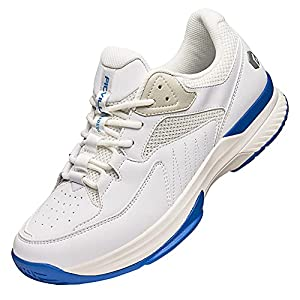 FitVille Wide Width Pickleball Shoes for Men All Court Tennis Shoes with Arch Support for Plantar Fasciitis White