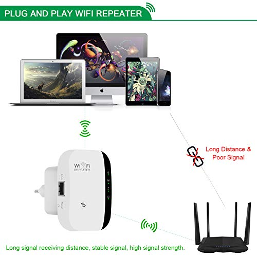 Amplificador WiFi Repetidor Extensor de alcance inalámbrico 300Mbps WiFi Signal Booster Red 2.4G con antenas integradas de puerto LAN Admite el modo de punto de acceso Repetidor con WPS 802.11n/b/g