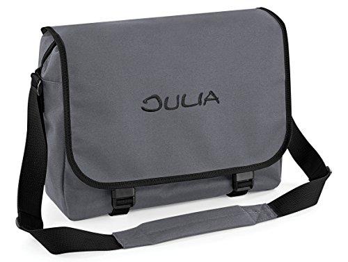 Umhängetasche, Messenger Bag mit Name, schwarz/grau, personalisiert Bestickt, Mitteilung Text r.o. jetzt anpassen.