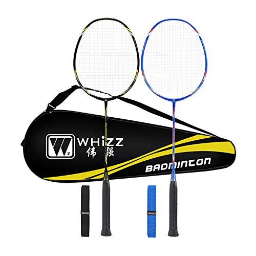 WHIZZ Badminton Racket Set for Adults, Pair of 2 Graphite Rackets, Lightweight & Heavy Duty, Including Premium Badminton Bag, 2 Racquet Grip
