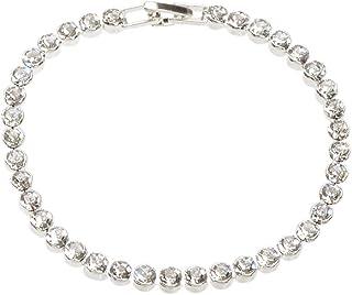 Luxurious Full Rhinestone Decor Women Bracelet for Wedding Dresses Bling Crystal Party Jewellery (Silver)