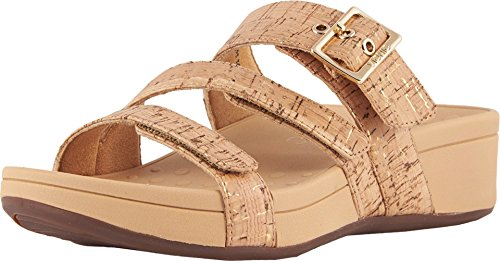 Vionic Women's Pacific Rio Platform Sandal - Ladies Adjustable Slide Sandal with Concealed Orthotic Arch Support Gold Cork 8 Medium US