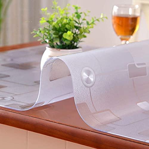 BANNAB Mantel Transparente Esmerilado, Protector de Mesa de PVC Impermeable, limpiable, Suave, Transparente, Cubierta de Tela para Mesa, para café, Comedor, Cocina-A 80x135cm (31x53inch)
