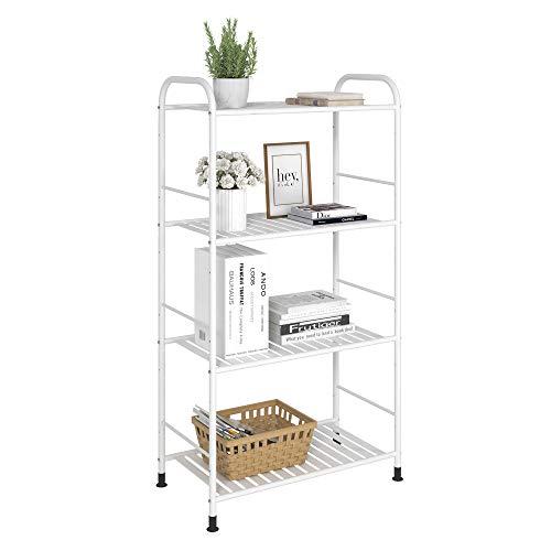 JSB 4-Tier Adjustable Shelving Unit Heavy Duty Storage Rack Organizer Metal Corner Shelf for Kitchen Living Room Laundry Pantry Bathroom White 4 Tier…