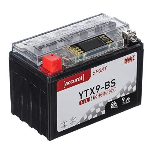 Accurat Batterie de moto YTX9-BS 9Ah 130A 12V Technologie gel + Écran LCD Batterie de démarrage Performante Robuste Résistante aux vibrations Zéro maintenance