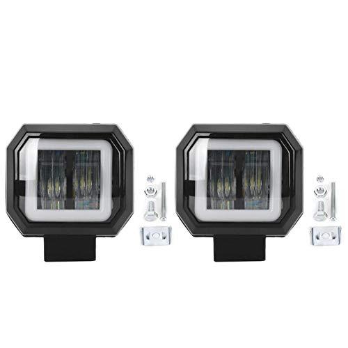 Lámpara de conducción de coche, 2 uds, 3 pulgadas, 20 W, 6500 K, LED IP68, foco cuadrado impermeable, luz de trabajo para coche, lámpara de conducción DRL, anillo de luz de ojo de ángel