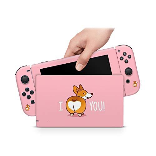 46 North Design Switch Skin für Konsole und JoyCons, gleiche Abziehbildqualität für Autos, Corgi Butt Vinyl-Aufkleber Hundeaufkleber Freund Welpe Pink, langlebig, blasenfrei, hergestellt in Kanada