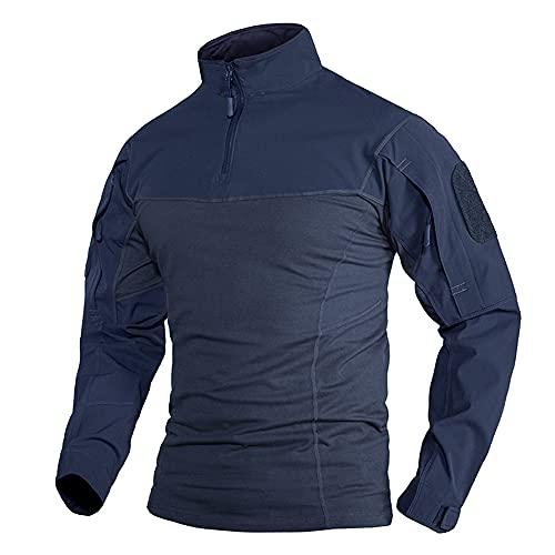 N\P Camisetas militares para hombre de manga larga con cuello redondo Airsoft Tactical Camisetas