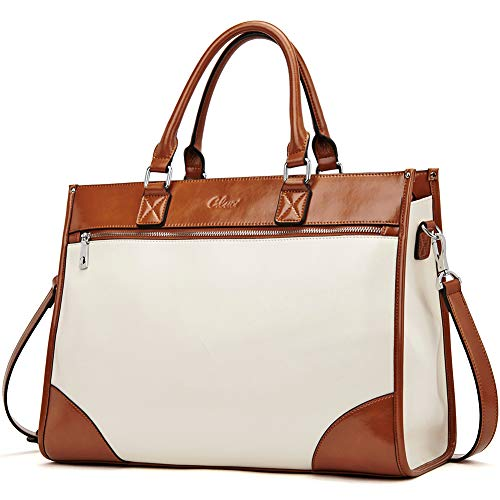 CLUCI Womens Briefcase Oil Wax Leather 15.6 Inch Laptop Business Vintage Ladies Large Capacity Shoulder Bag Beige with Brown