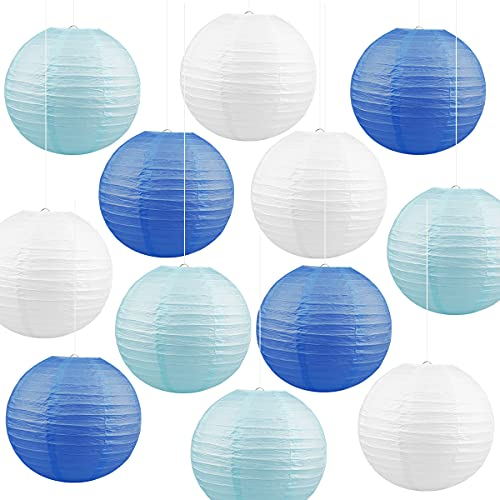 Jangostor 12 PCS Bunt Papier Laterne Lampions 30CM runde Lampenschirm Papierlaterne, Bunte Papierlaterne für Hochzeiten, Geburtstage (White&Blau&Hellblau)