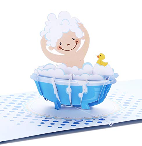 Liif Baby Shower Blue Boy 3D Greeting Pop Up Card For New Baby, Baby Congratulations, Announcement, Newborn, Baby Congrats, Cute