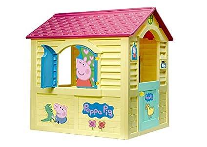 Chicos Peppa Pig Casita Infantil de Exterior, Color Amarilla con tejado Rosa (La Fábrica de Juguetes 89503)