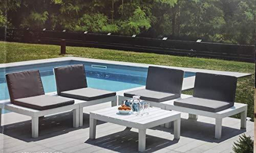 Ipae salottino modulare molok Bianco con 1 tavolino 8 Cuscini Antracite Set Giardino