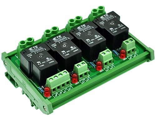 CZH-Labs Módulo de relé de alimentación pasivo de 24 V de montaje en carril DIN 4 SPST-NO de 30 A.