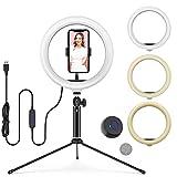 """Luce ad Anello LED 10"""", Lampada ad Anello con Treppiede, 3 Colori e 10 Livelli di Luminosità, Ring Light con Telecomando Wireless, Lampada Selfie per Tik Tok/ Selfie/ Live Streaming/ YouTube"""