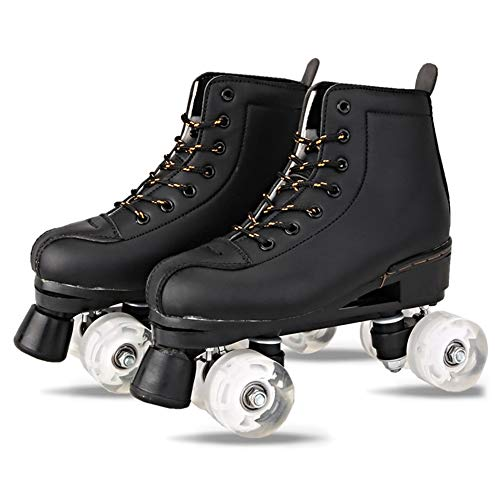 Dinah Damen Herren Skate Gear Soft Boot Rollschuhe Retro High Top Design Indoor Outdoor mit Licht Gr. 70, Schwarz